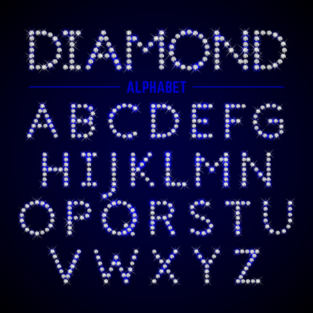 letters of the alphabet: Alphabet letters from diamonds Illustration