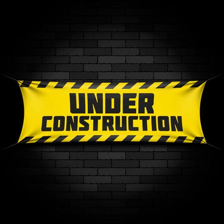 En construction bannière sur noir
