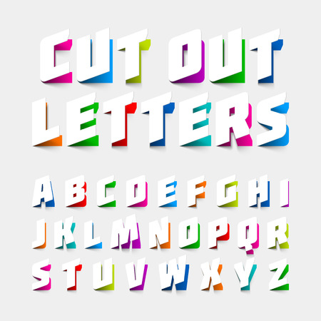 Alphabet letters cut out from paper Çizim