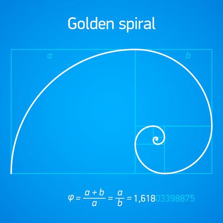 nombre d or: Rapport d'or en spirale avec le schéma Illustration
