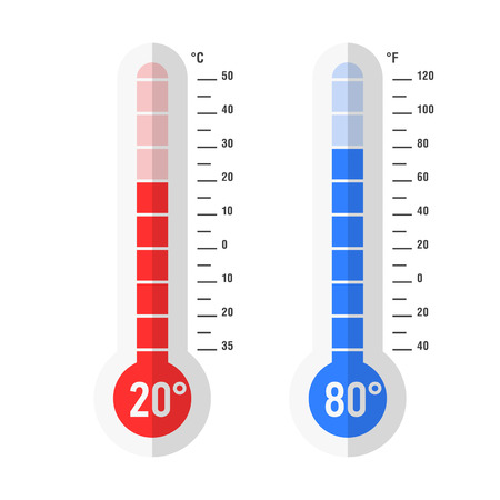 thermometers: Flat style Celsius and Fahrenheit thermometers