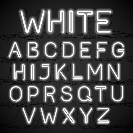 ホワイトのネオンの光ケーブルでアルファベット  イラスト・ベクター素材