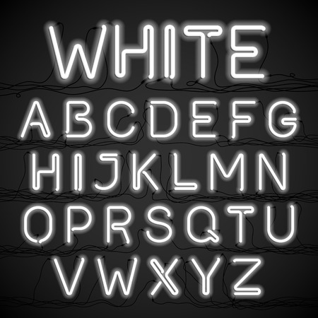 vintage sign: White neon light alphabet with cable