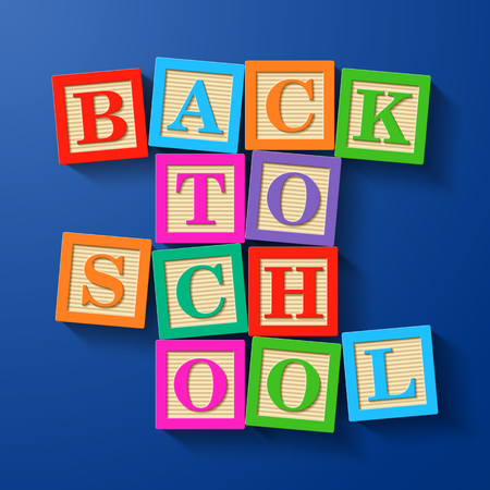 compiled: Back to School phrase compiled with wooden alphabet blocks Illustration
