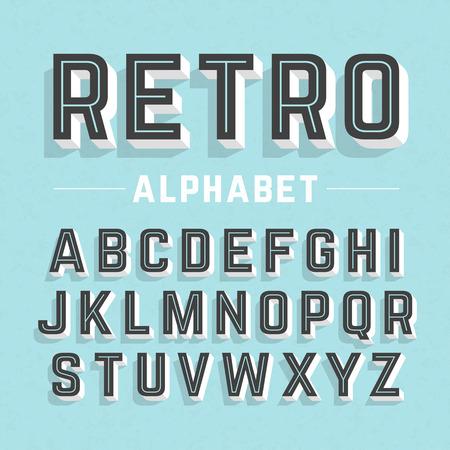 ビンテージ: レトロなスタイルのアルファベット  イラスト・ベクター素材