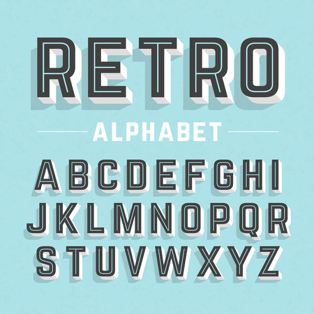 with sets of elements: Retro style alphabet Illustration