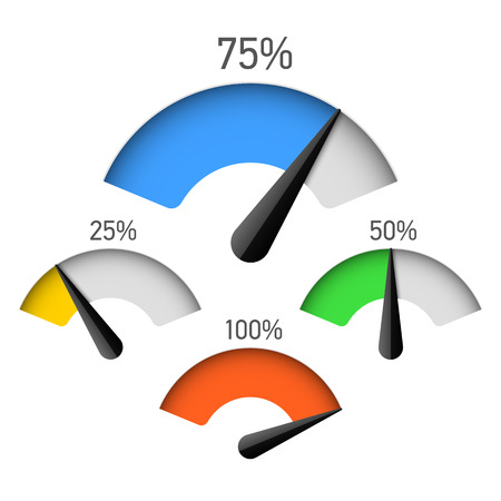 metro medir: Infografía elemento de gráfico de calibre con el porcentaje Vectores