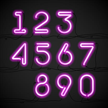 Los números del alfabeto luz de neón de color rosa con cable