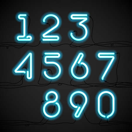 fluorescent tube: Blue neon light alphabet numbers with cable