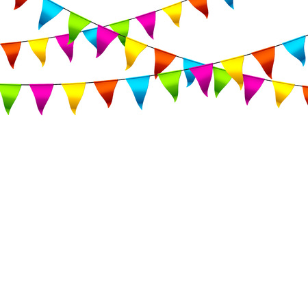 hanging banner: Colorful bunting flags with space for text