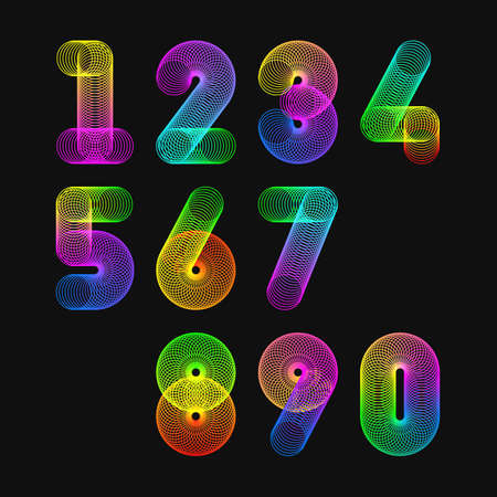 numbers: Colorful slinky toy alphabet numbers Illustration