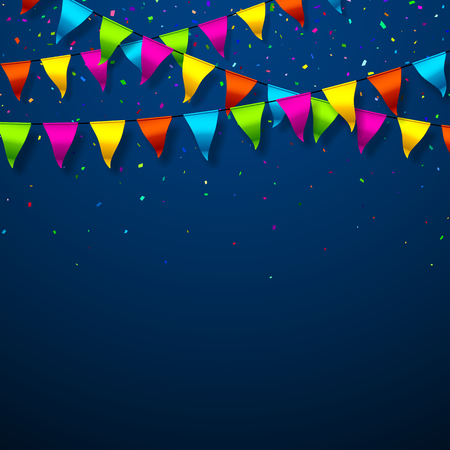 festive background: Colorful bunting flags with confetti festive background