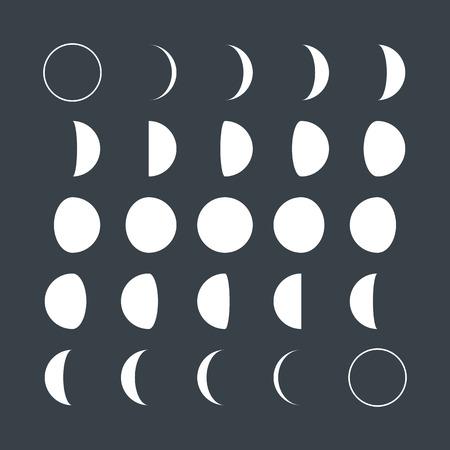 esfera: Fases lunares estilo Flat Vectores