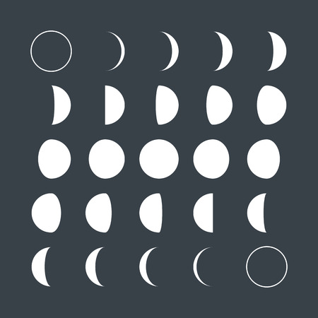Vlakke stijl Lunar fasen Stock Illustratie