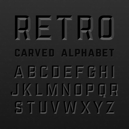 carved letters: Black retro style carved alphabet Illustration