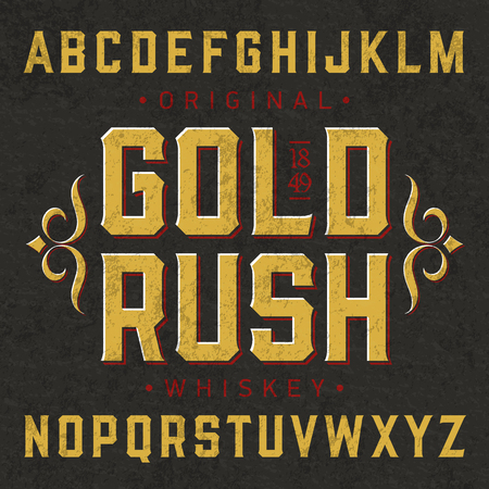 english: Gold Rush whiskey style vintage label font with simple design. Ideal for any design in vintage style. Illustration