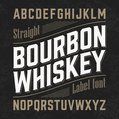whisky bottle: Bourbon whiskey label font with sample design. Ideal for any design in vintage style.