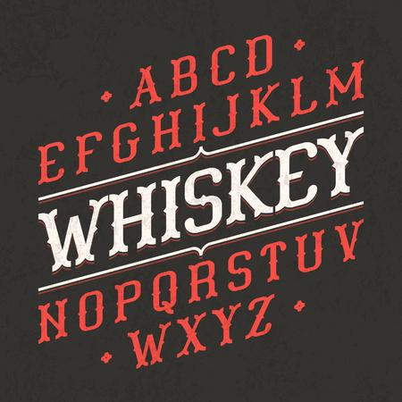 cartas antiguas: Estilo Whiskey fuente del vintage. Ideal para cualquier diseño de estilo vintage.
