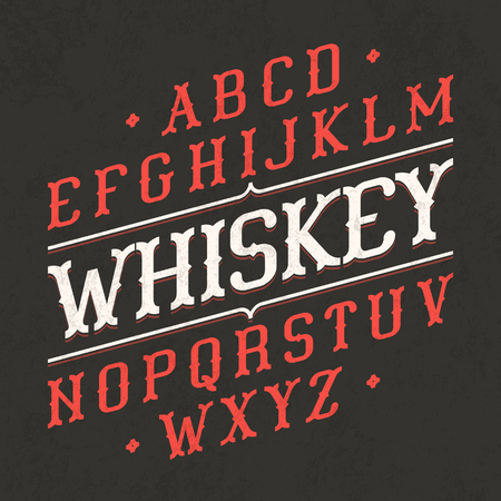 old english letter alphabet: Whiskey style vintage font. Ideal for any design in vintage style. Illustration