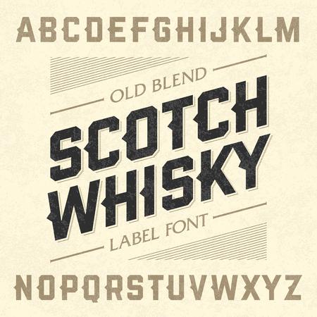 abecedario: Fuente Scotch whisky etiqueta de estilo con el diseño de la muestra. Ideal para cualquier diseño de estilo vintage.