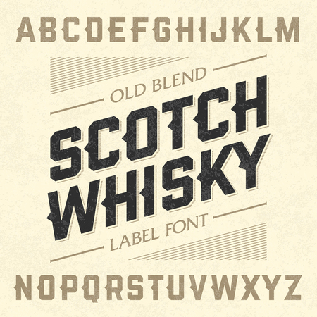 alphabet a: Scotch whiskey style label font with sample design. Ideal for any design in vintage style.