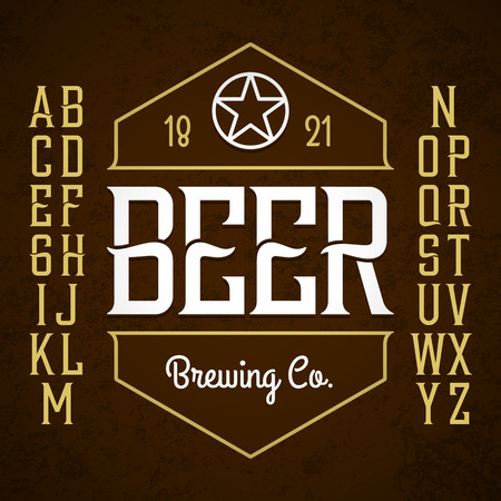 label sticker: Beer label style font with sample design. Ideal for any design in vintage style.