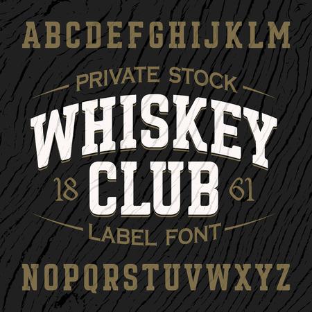 vintage: Whisky Club vintage stijl label lettertype met sample design. Ideaal voor elk model in vintage stijl.