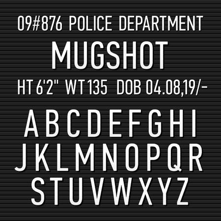 Policía bordo mugshot signo alfabeto, números y signos de puntuación