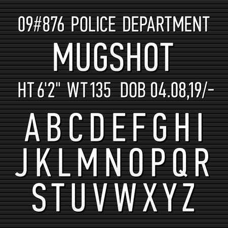 jail: Police mugshot board sign alphabet, numbers and punctuation symbols