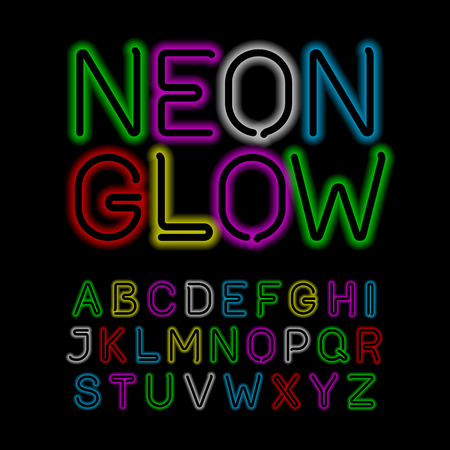 fluorescent tubes: Neon glow alphabet Illustration