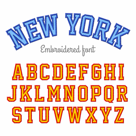 embroidery on fabric: New York, embroidered sport style font Illustration