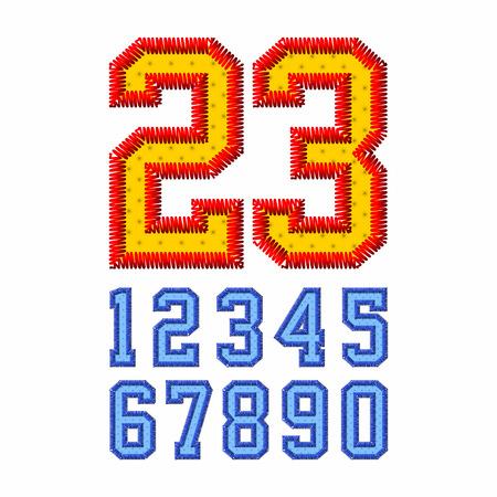 nombres: Numéros de polices brodées Illustration