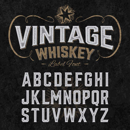 vintage bottle: Vintage whiskey label font with sample design. Ideal for any design in vintage style.