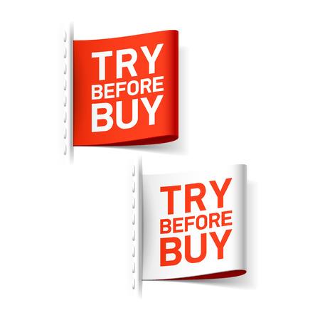 essayer: Essayez avant d'acheter �tiquette Illustration