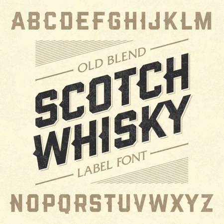 whisky bottle: Scotch whisky style label font with sample design. Ideal for any design in vintage style. Illustration