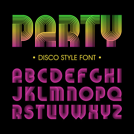 alphabetical letters: Disco party style font Illustration