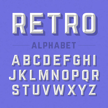alphabetical letters: Retro style alphabet Illustration