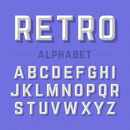 grunge paper: Retro style alphabet Illustration