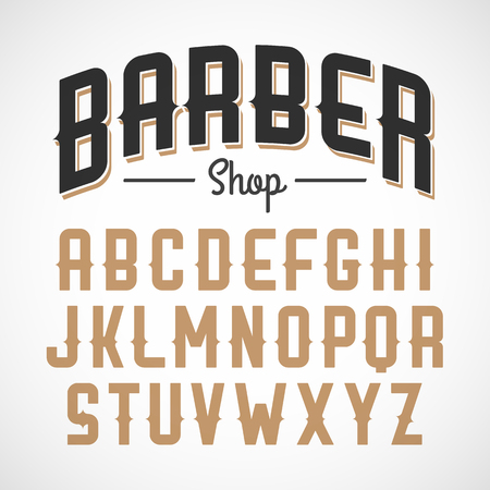 english alphabet: Vintage style font Illustration