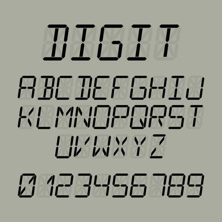 digital: Digital font, alphabet and numbers