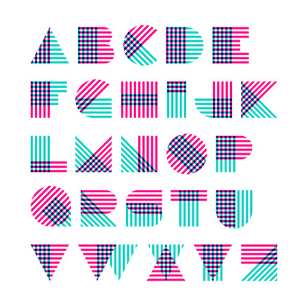 Striped alphabet made of crossed lines