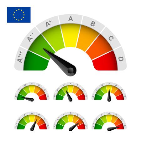 eficiencia: Unión Europea calificación de eficiencia energética Vectores