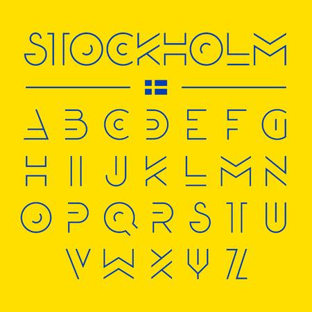 Modern font design, alphabet Illustration