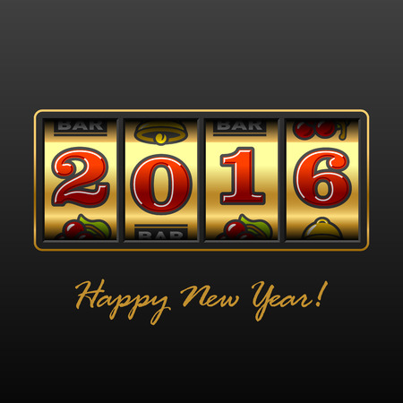 new years eve: Slot machine with 2016 year jackpot