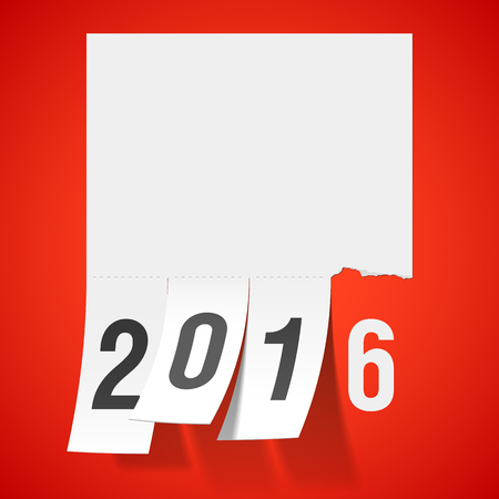 tear: New Year 2016 greeting card with tear off tabs