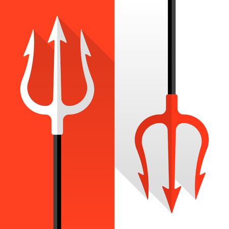 trident: Flat style tridents on red and white background