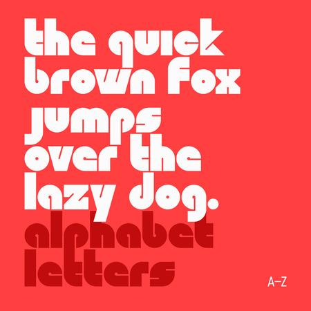 carta: El rápido zorro marrón salta sobre el perro perezoso. Letras latinas minúsculas del alfabeto. Vectores