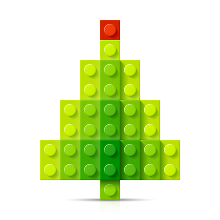 play card: Christmas tree made of plastic blocks