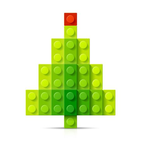 tarjeta de invitacion: �rbol de navidad hecho de bloques de pl�stico Vectores