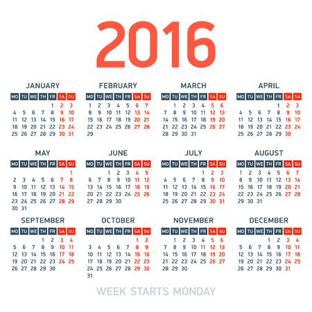week: Calendar 2016. Week starts Monday. Illustration